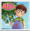 alex cartoons show to learn the world surrounding kids, animals, sea, vegetables and music