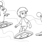 Chip coloring pages with his friends skating