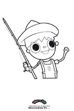 Coloring pages cartoon, print, color and paint draws, telmo fishing