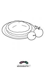 Coloring pages cartoon, print, color and paint draws, apple pie