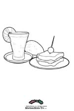 Coloring pages cartoon, print, color and paint draws, sandwich and fruit milkshake