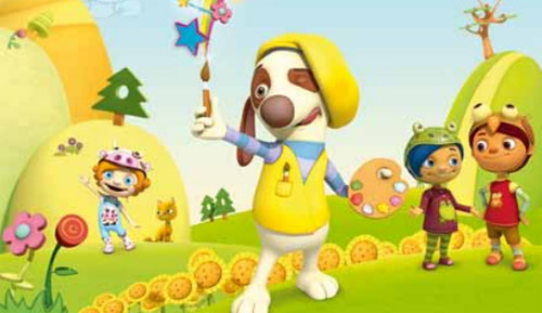 preschool cartoons TV show of a dog painter, Van Dogh