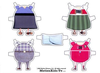 vestidos para recortar en la manualidad de niños de  Telmo y Tula