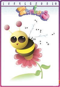 play to connect the numbers and print the queen bee drawing