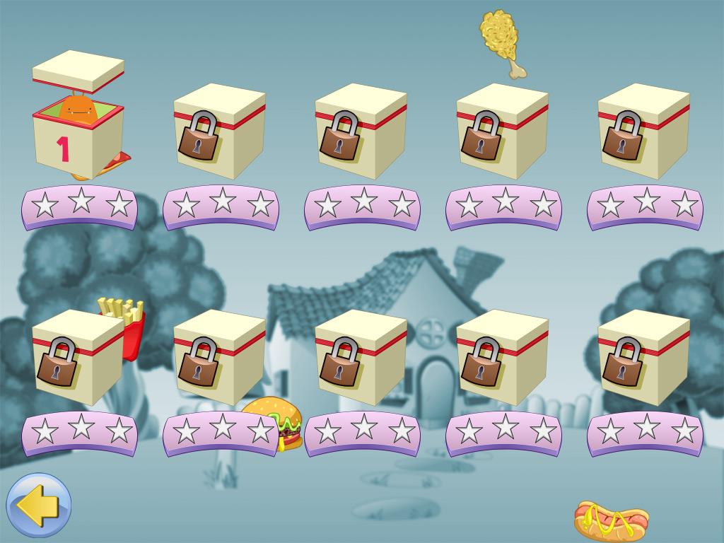 Zaptura de las cajas con niveles de la app para niños