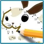 Dibujo de lapiz uniendo los puntos del dibujo de un conejo