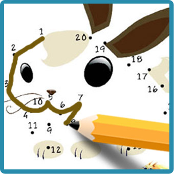 rabbit icon with pencil connecting dots