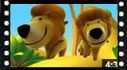 kids cartoon video of Alex discovering a lion on the forest