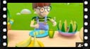 kids cartoon video of Alex discovering the fruits and vegetables, the melon