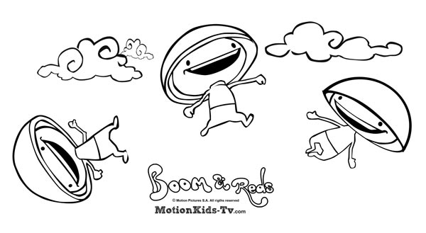color and paint the funny friends of Boom, the mushrooms Reds cartoon