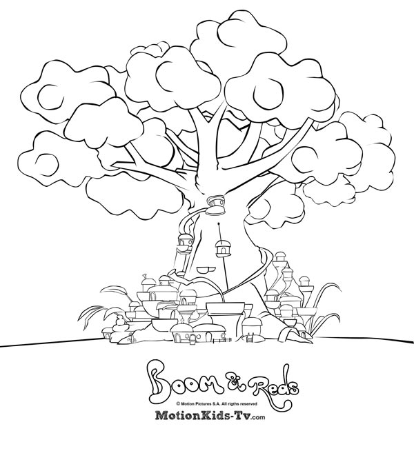 Coloring pages boom reds tree house city of mushrooms