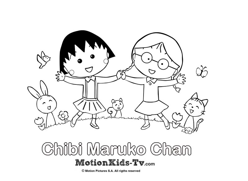 Coloring pages Chibi Maruko Chan | MotionKIDS-tv. Fun for kids ...