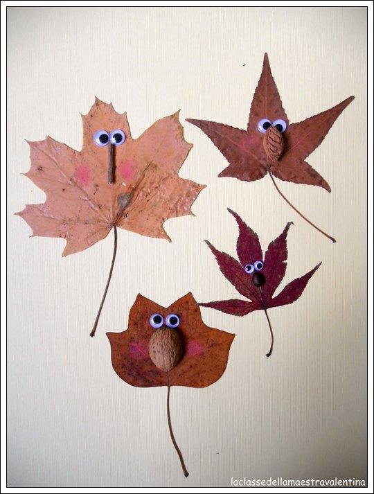 Manualidades para el otoo para nios DIY con hojas de rboles