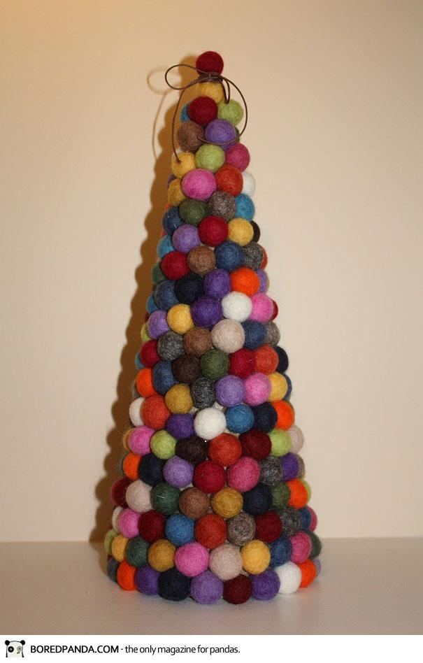 arbol con bolitas de tela o fieltro pompones - Arbol De Navidad De Tela
