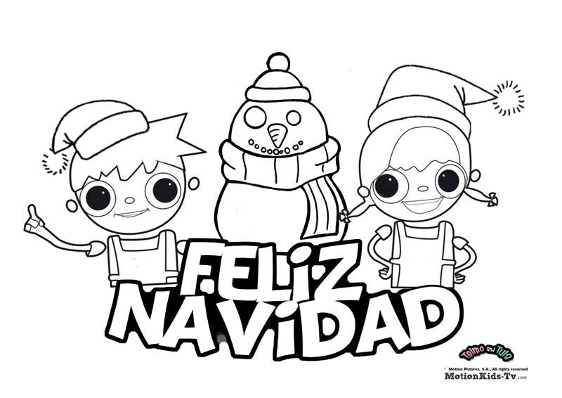 Feliz Navidad, dibujos para colorear de Telmo y Tula