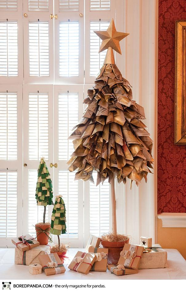 arbol navidad reciclaje con papel de epriodico