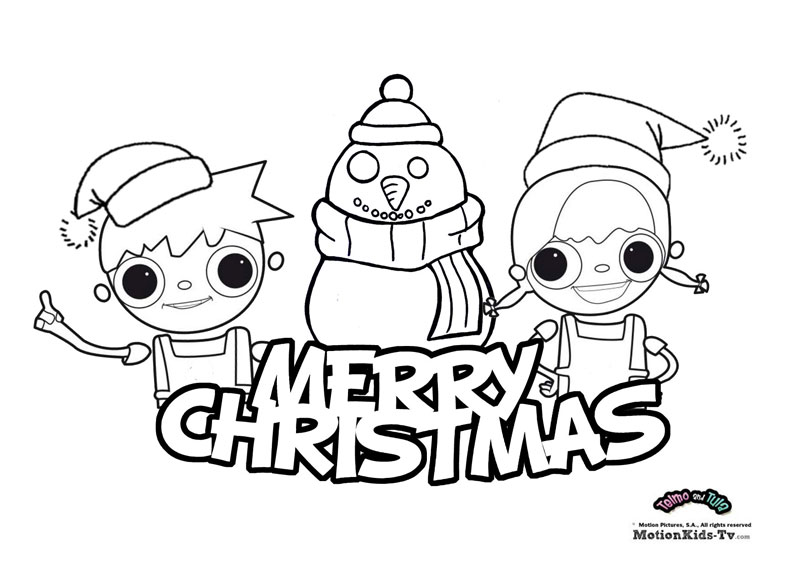 Merry Christmas Coloring Page Telmo And Tula