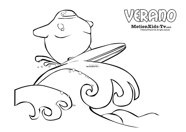Dibujos para colorear de verano, surf olas