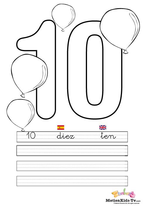Aprender los números del 1 al 10, fichas educativas para colorear ...