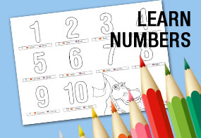 Number coloring pages, learn and fun, tots activities
