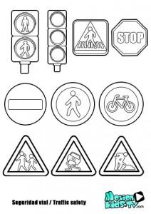 Coloreables señales de tráfico. Descargables educativos seguridad vial para niños