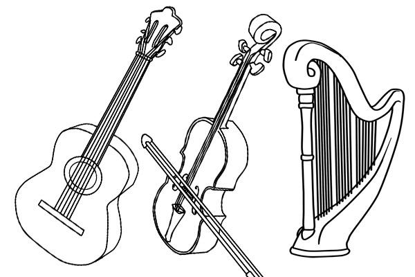 colorear-instrumentos-musica-cuerda