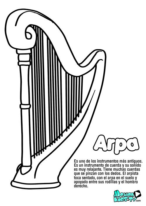 dibujo-arpa-colorear-instrumentos