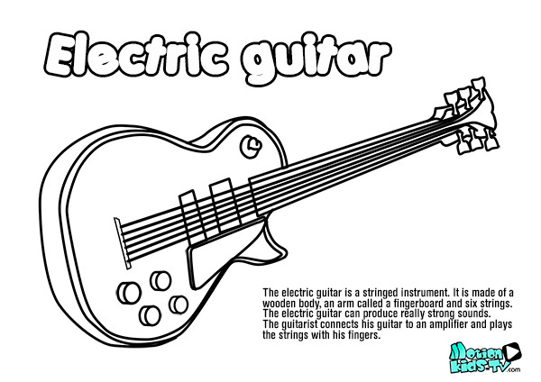 electric guitar coloring page az pages sketch coloring page