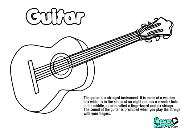 guitar-drawing-coloring-pages-instruments
