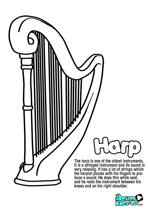 harp-drawing-coloring-pages-instruments