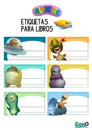 Imprimible etiquetas para libros de los dibujos animados Glumpers