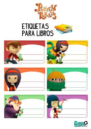 Imprimible etiquetas para libros de los dibujos animados Pumpkin