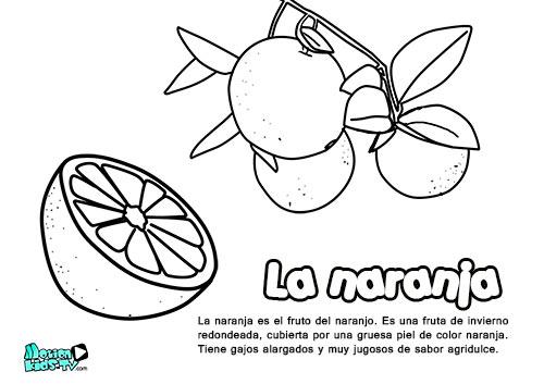 descargables educativos dibujos para colorear, la naranja