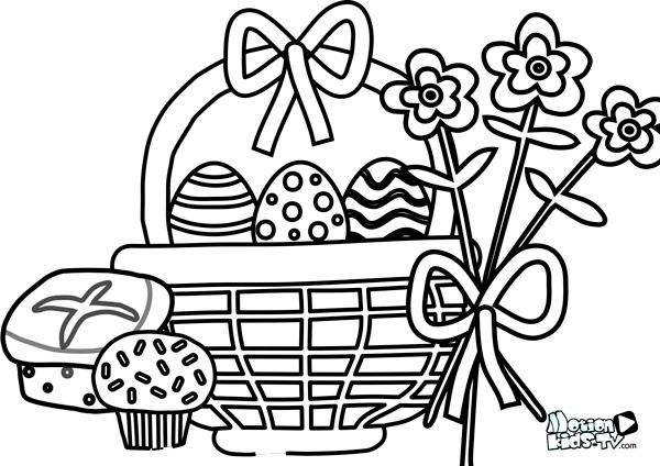 easter coloring pages: picnic and easter eggs
