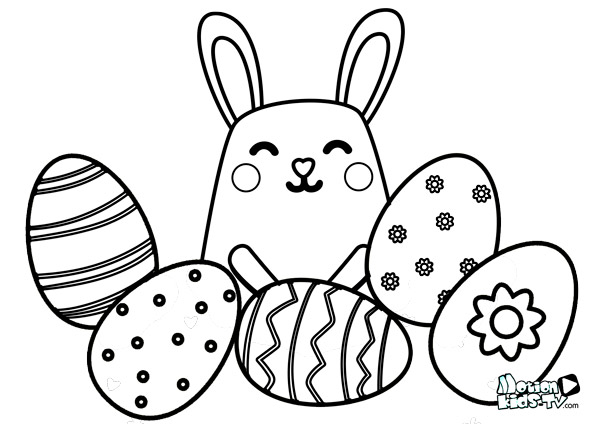 easter rabbit and eggs coloring pages