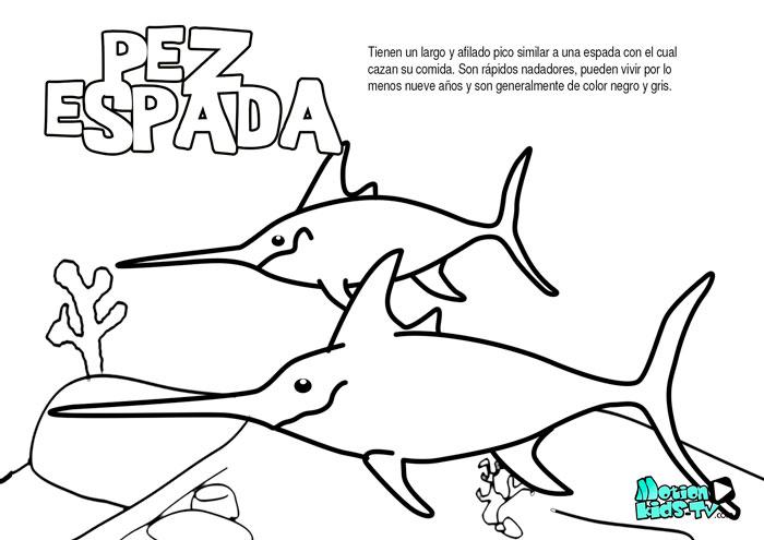 El pez espada, dibujos para colorear de peces educativos para niños