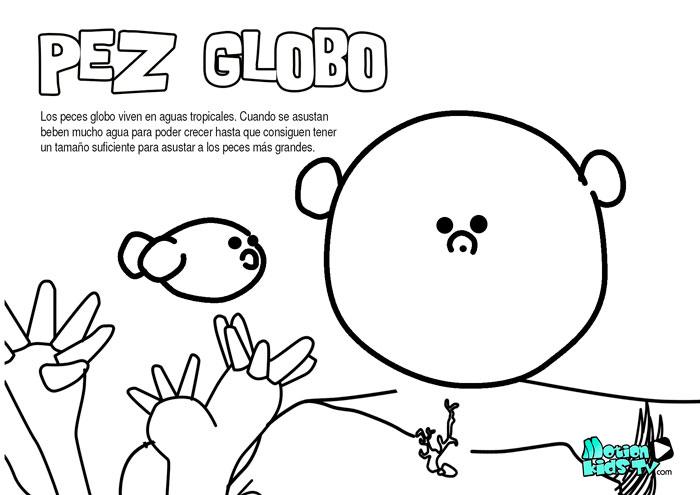 El pez globo, dibujos para colorear de peces educativos para niños