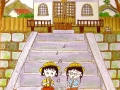 [:es]Dibujo de Chibi Maruko y su amiguita Tamae[:en]Maruko and Tamae illustration at the school
